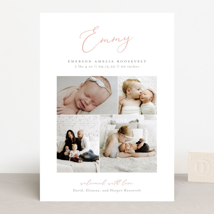 """""""Namely"""" - Birth Announcements in Blush by Sarah Brown."""