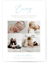 This is a green birth announcement by Sarah Brown called Namely with standard printing on smooth signature in standard.