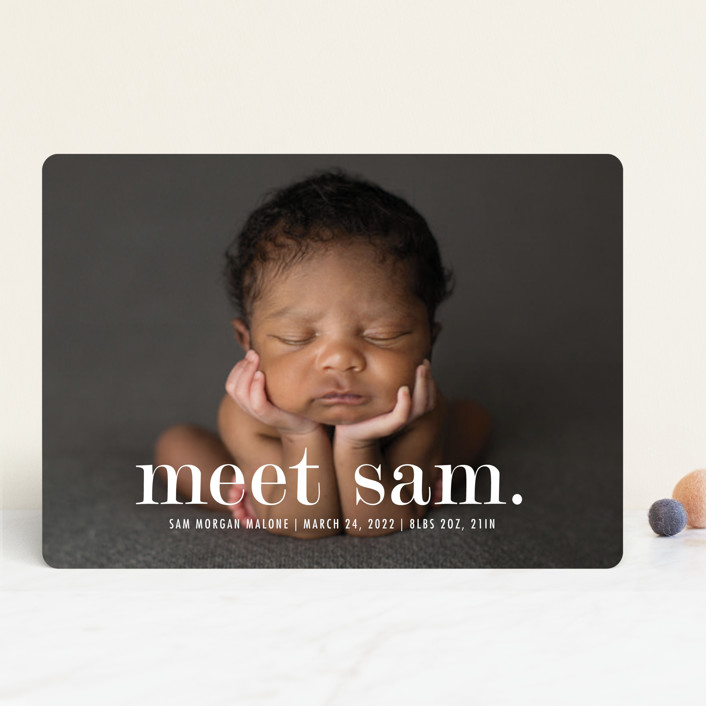 """Meeting"" - Modern Birth Announcements in Cloud by Up Up Creative."