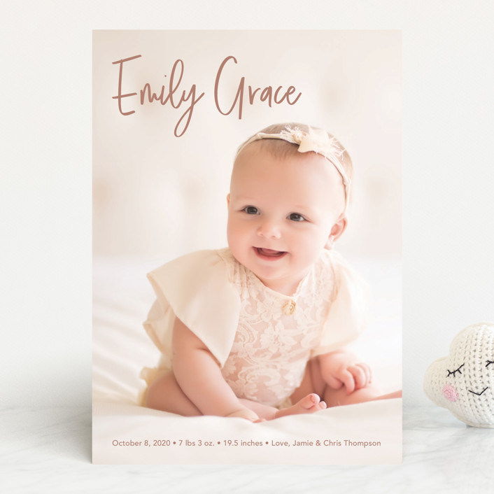 """Elegance in the name"" - Modern Birth Announcements in Dusty Rose by Lorena Depante."