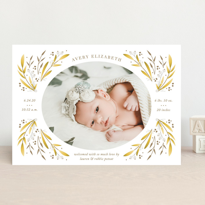 """floral spray"" - Birth Announcements in Greenery by Jennifer Postorino."