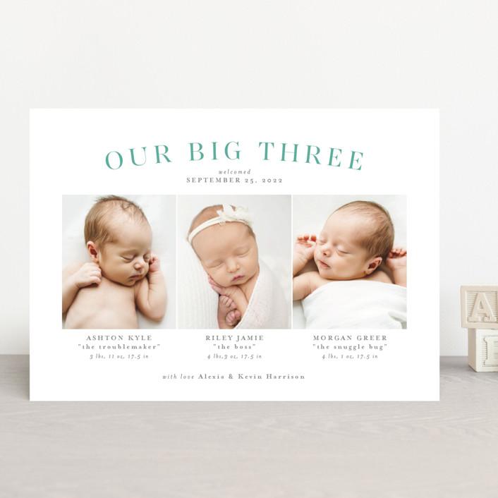 """Our big three"" - Funny Birth Announcements in Slate by Lea Delaveris."