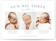 This is a grey birth announcement by Lea Delaveris called Our big three with standard printing on smooth signature in standard.