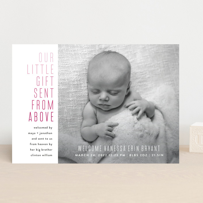 """Sent From Above"" - Birth Announcements in Cherry by Up Up Creative."