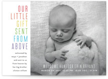 This is a blue birth announcement by Up Up Creative called Sent From Above with standard printing on smooth signature in standard.