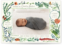 This is a green birth announcement by Morgan Ramberg called Snuggle Bug with standard printing on signature in standard.