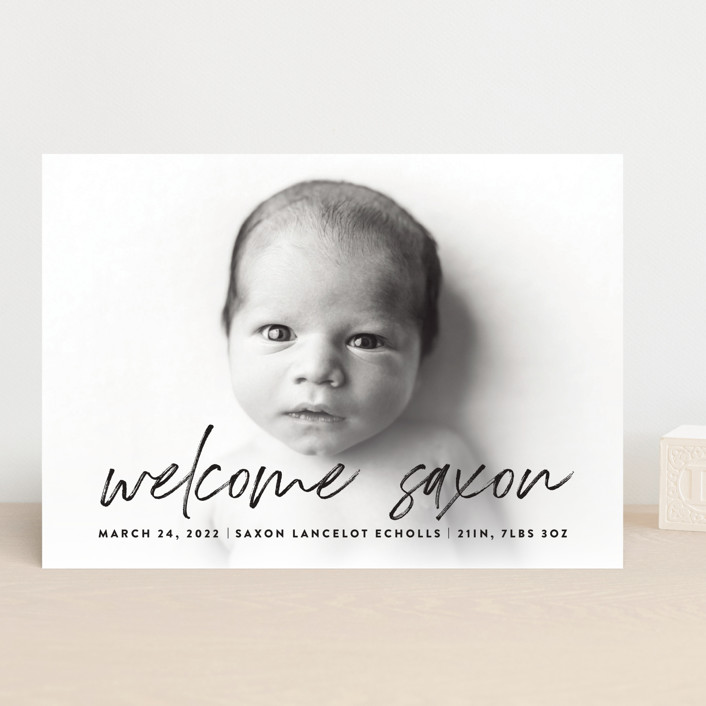 """""""Saxon"""" - Modern Birth Announcements in Galaxy by Up Up Creative."""