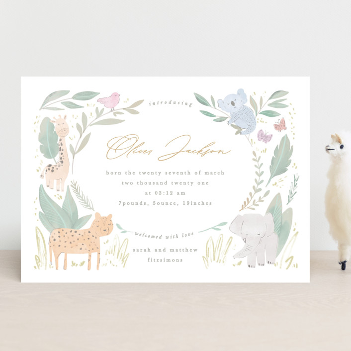 """""""Safari kid"""" - Whimsical & Funny Birth Announcements in Olive by Creo Study."""