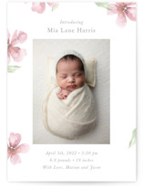 This is a pink birth announcement by Melinda Denison called Flower Petals with standard printing on signature in standard.
