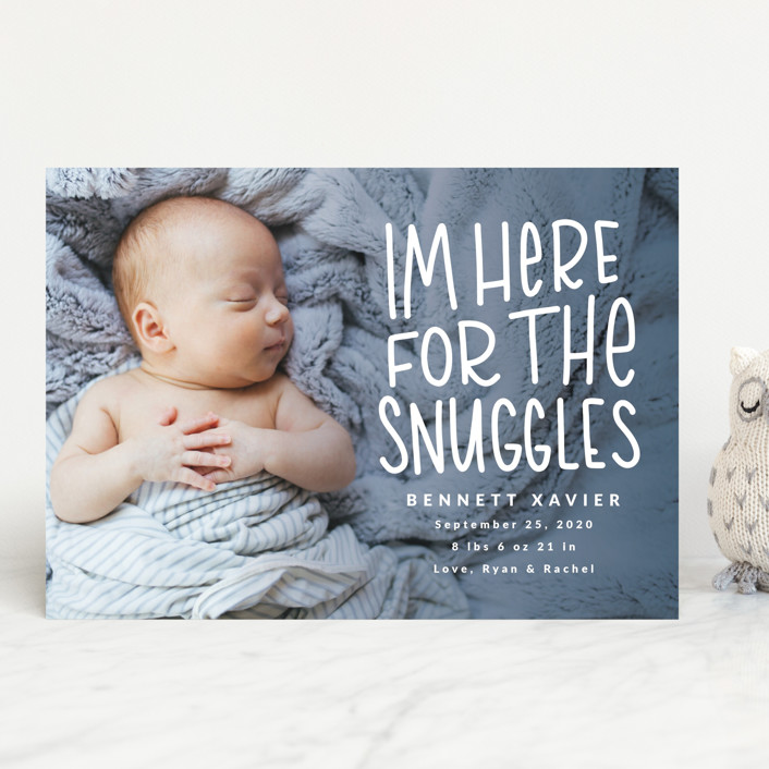 """Snuggles"" - Funny Birth Announcements in Dusty Blue by Mayflower Press."