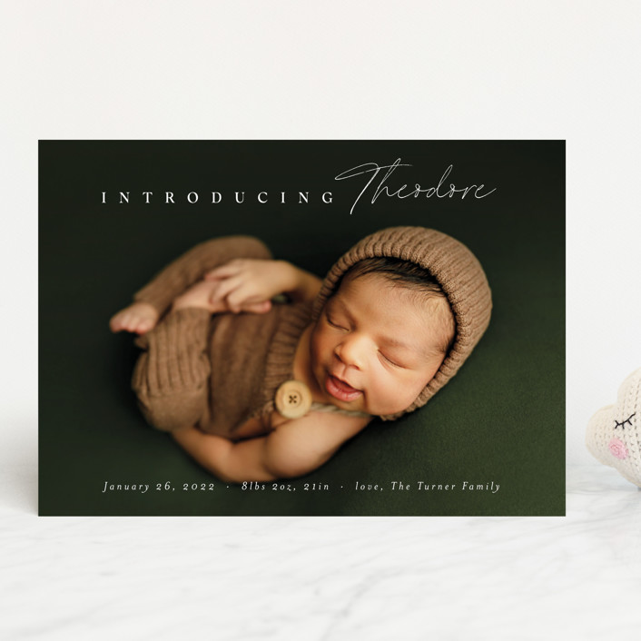 """""""Simple Emphasis"""" - Birth Announcements in Cloud by Carolyn MacLaren."""