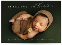 This is a white birth announcement by Carolyn MacLaren called Simple Emphasis with standard printing on signature in standard.