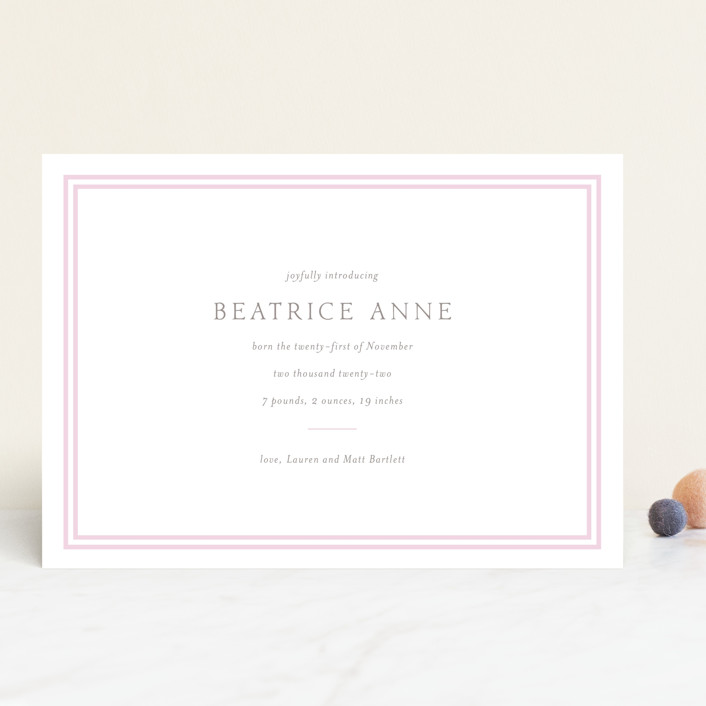 """Frolic"" - Preppy Birth Announcements in Ballet Slipper by Toast & Laurel."