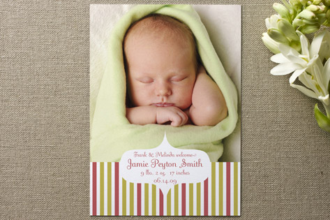 Garden Stripes Birth Announcements