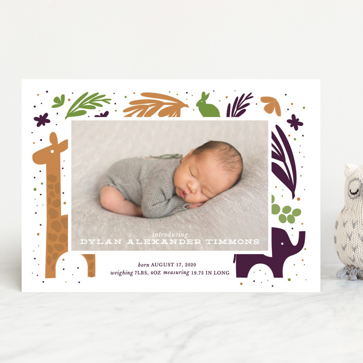 """""""In the Wild"""" - Whimsical & Funny Birth Announcements in Cotton by Bethany Anderson."""