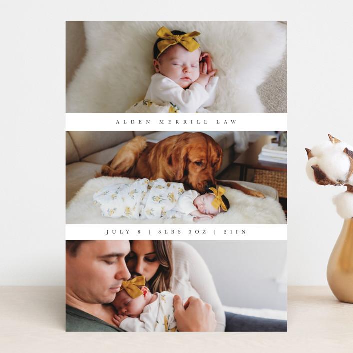 """Triple Threat"" - Modern Birth Announcements in Greige by Erin L. Wilson."