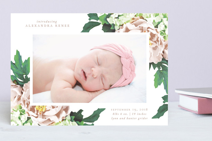 """Vintage Rose"" - Birth Announcements in Burnt Rose by That Girl Press."