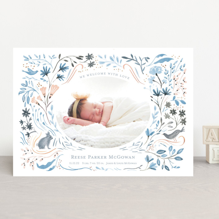 """""""Bunny and Birds"""" - Whimsical & Funny Birth Announcements in Peach Melon by Morgan Ramberg."""