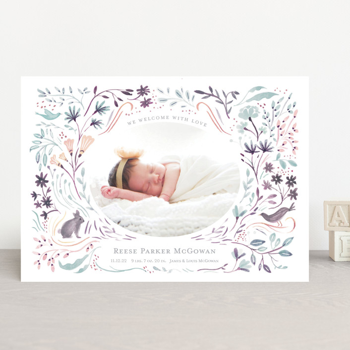 """""""Bunny and Birds"""" - Birth Announcements in Peach Melon by Morgan Ramberg."""