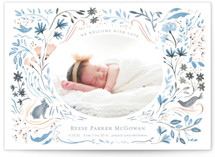 This is a blue birth announcement by Morgan Ramberg called Bunny and Birds with standard printing on smooth signature in standard.