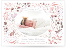 This is a purple birth announcement by Morgan Ramberg called Bunny and Birds with standard printing on smooth signature in standard.