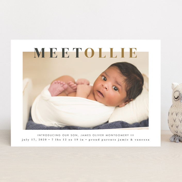 """""""Nicknamed Newborn"""" - Preppy Birth Announcements in Orche by Julie Murray."""