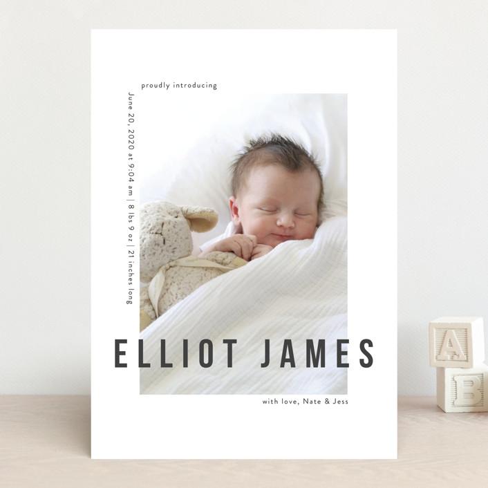 """Pure Love"" - Modern Birth Announcements in Slate by Kasia Labocki."