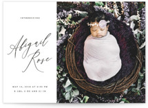 This is a black birth announcement by Simona Camp called Classic Introduction with standard printing on smooth signature in standard.
