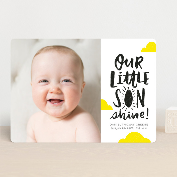 """""""Little Sonshine"""" - Funny, Modern Birth Announcements in Sunshine by Frooted Design."""