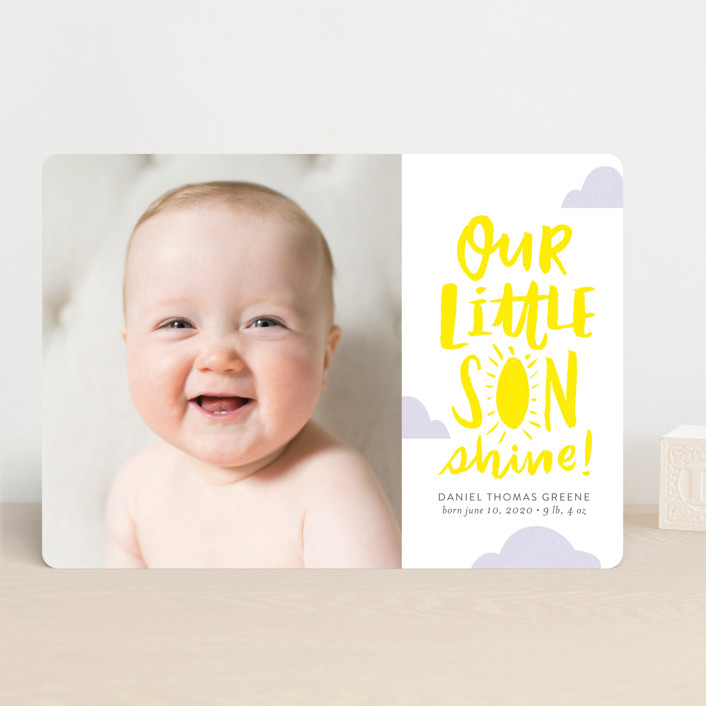 """Little Sonshine"" - Funny, Modern Birth Announcements in Sunshine by Frooted Design."