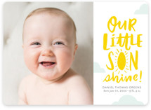 This is a yellow birth announcement by Frooted Design called Little Sonshine with standard printing on smooth signature in standard.