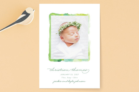 Abstract Greenery Birth Announcements