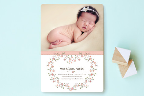 Heart Floral Frame Birth Announcements