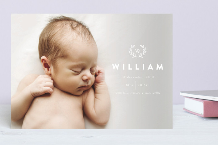 """William Wreath"" - Preppy Birth Announcements in Cloudy by Erika Firm."