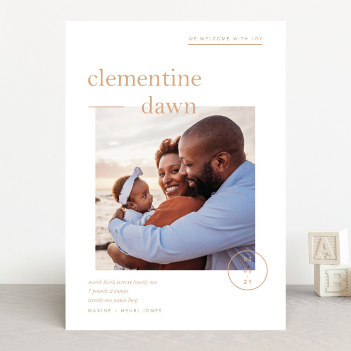 """""""Clementine"""" - Preppy Birth Announcements in Peach by Blustery August."""