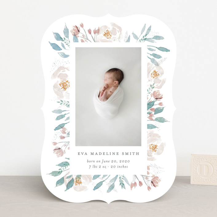 """""""Baby Bloom"""" - Birth Announcements in Periwinkle by Bonjour Paper."""