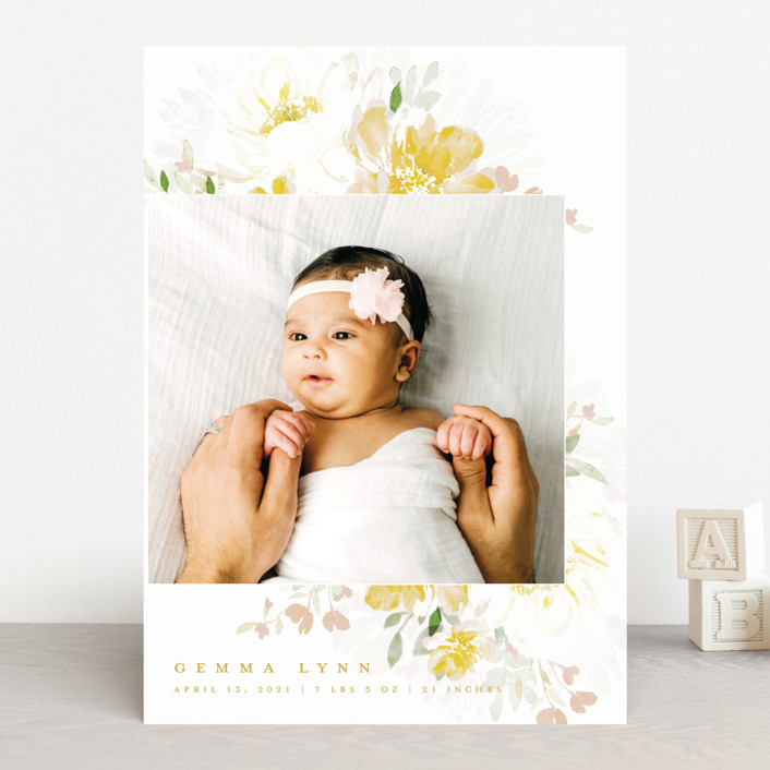 """""""Draping Blooms"""" - Birth Announcements in Canary Yellow by Grace Kreinbrink."""