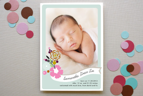 Flower Banner Birth Announcements
