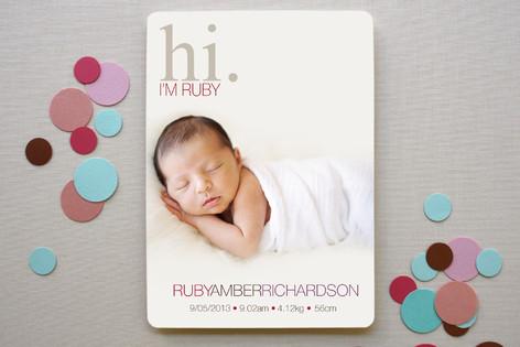 Subtle Ruby Birth Announcements