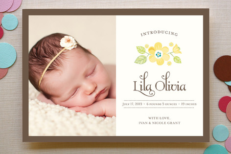 Vintage Yellow Floral Birth Announcements