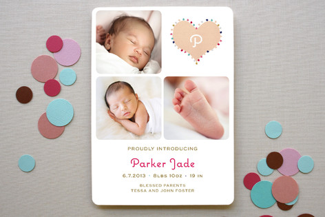 Coeur Pompom Birth Announcements