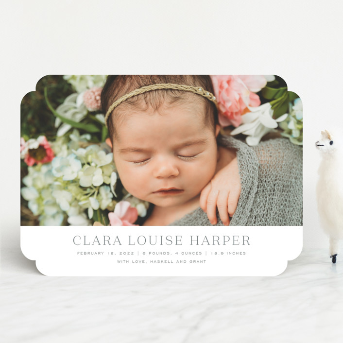 """""""Canvas"""" - Preppy Birth Announcements in Moon by Toast & Laurel."""
