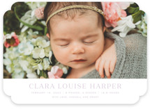 This is a purple birth announcement by Toast & Laurel called Canvas with standard printing on smooth signature in standard.