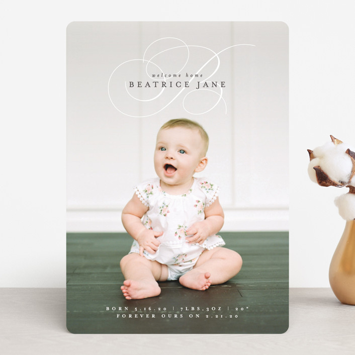 """""""Classic Welcome"""" - Birth Announcements in Silver Sage by Olivia Raufman."""