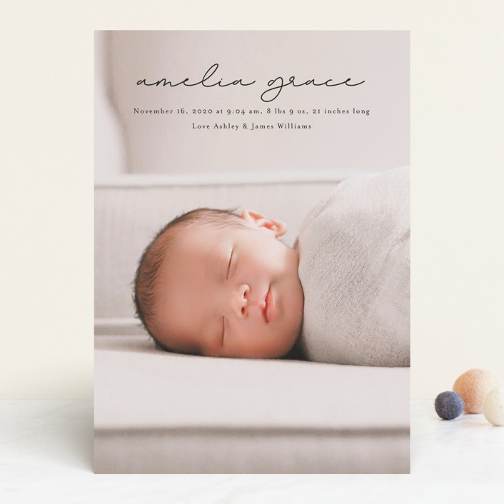 """pure grace"" - Birth Announcements in Onyx by Kasia Labocki."