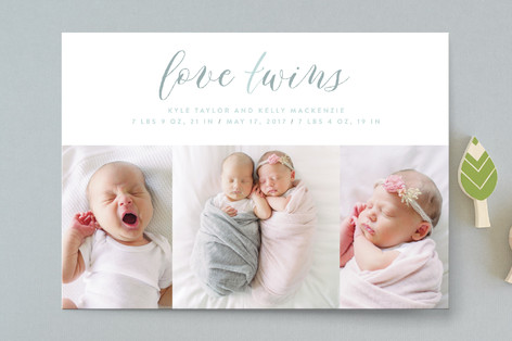 Love Twins Birth Announcements