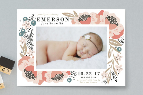 Floral Corner Frame Birth Announcements