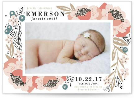 floral corner frame birth announcements