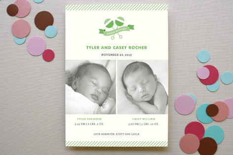Twin Rattles Birth Announcements