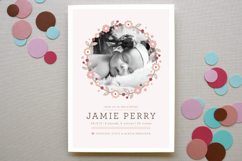 Simple Wreath Birth Announcements
